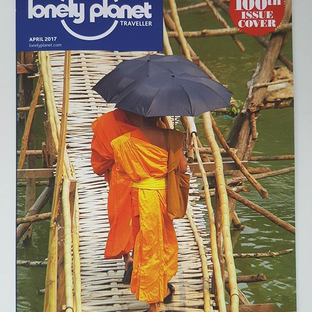 OMG now we're talking! @lonelyplanetmags with MY image on the front cover has arrived!   B E Y O N D  E X C I T E D!!!!  That may well be my working day over!!! #lpmag100   I ran to take this snap and remember it so well! Monks crossing the Mekong River in Luang Prabang, Laos 2015  #sohappy #excited #grateful #lonelyplanet #myphoto #photobyme #luangprabang #monks #laos #mekong #travel #memories #happydays