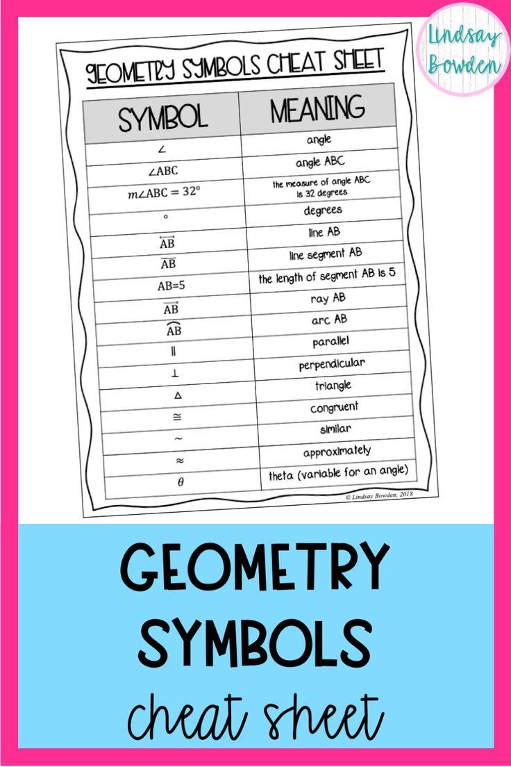 Geometry symbols cheat sheet geometry high school