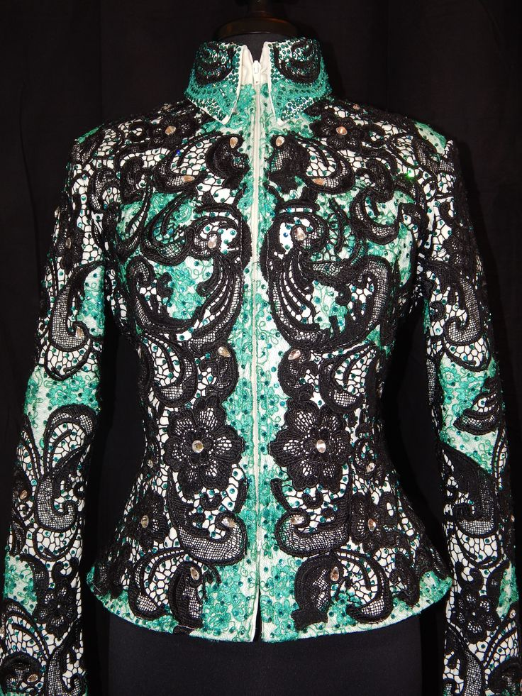 MISS KARLA'S CLOSET Teal Black and White Lace Jacket / Showmanship / Rail Class / Western $2550 www.MissKarlasCloset.com