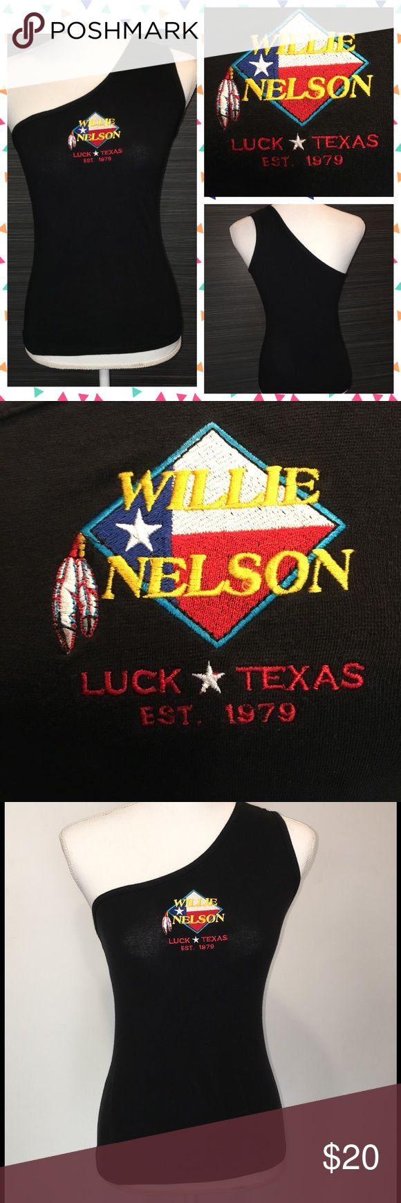 Vintage Willie Nelson Concert T-shirt Texas Awesome one-shoulder black top- purchased at a Willie Nelson concert. Fitted and stretchy. Hot! Looks great with cowboy boots! Tops Tank Tops