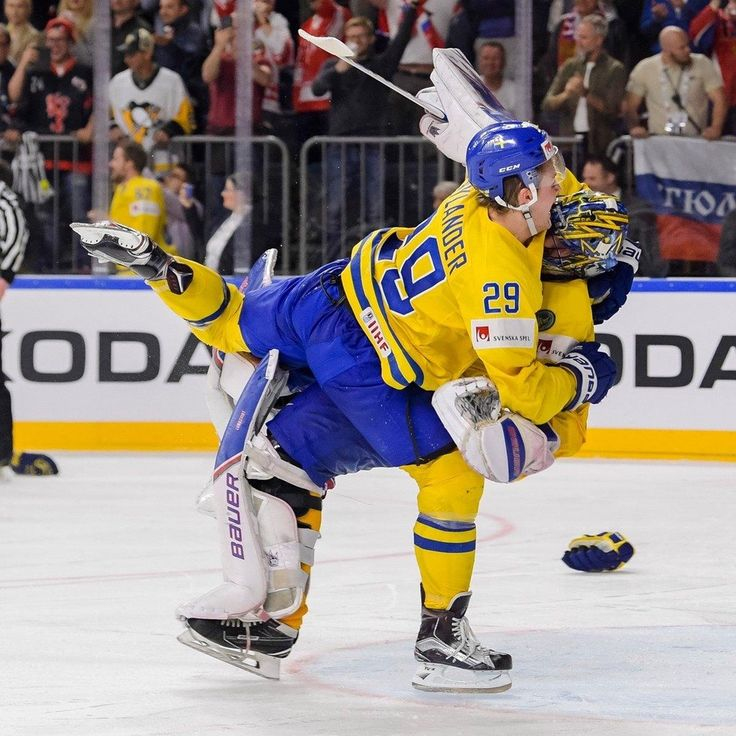 William Nylander Jumps Goalie Henrik Lundqvist In Celebration, After Sweden Wins The Gold World Championship