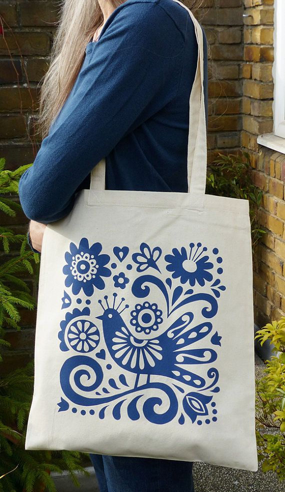 Tote Bag Book Bag Mexican Blue Bird Flowers Folk Art by Fran Wood Design. The bird and flower were inspired by Frida Kahlo paintings and mexican embroidery.