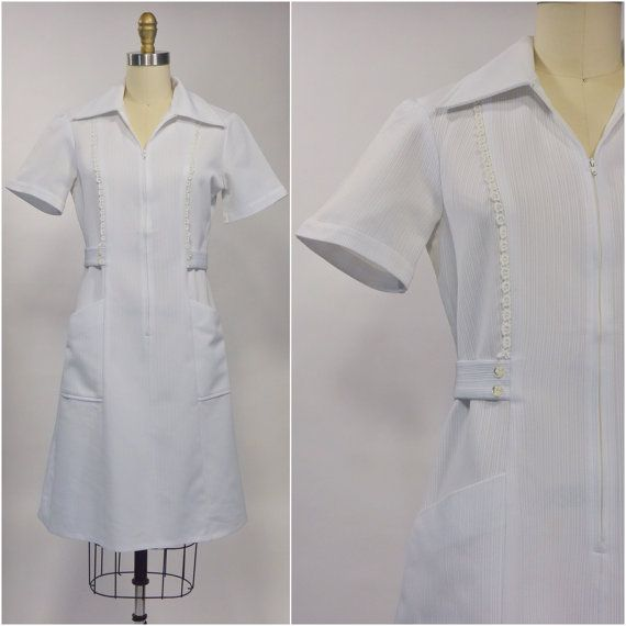 White Nurse Uniform  1970s Vintage Nurse Dress  by OdettesVintage