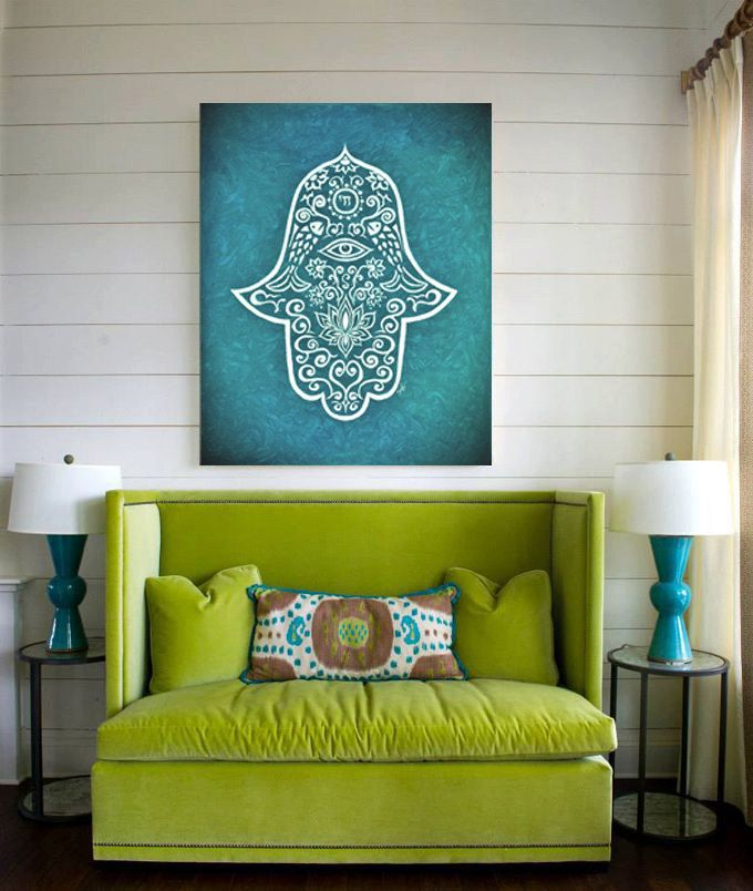 Hamsa Print of my original Painting 30 X 40 Canvas Print Modern Wall Decor Spiritual painting Boho Style Large Canvas Teal Turquoise volor by SpiritualGiftGallery on Etsy