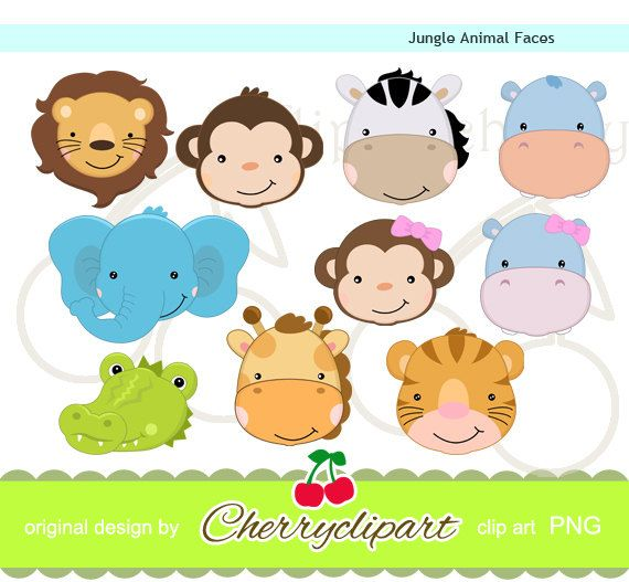 Cute Jungle Animal Faces digital clipart set  for-paper crafts,card making,scrapbooking,and web design. $5.00, via Etsy.