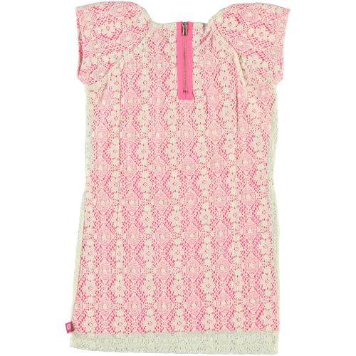 roze jurk met beige kanten overjurk met rugsluiting rits