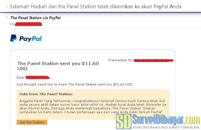 Saldo PayPal dari The Panel Station Indonesia | SurveiDibayar.com