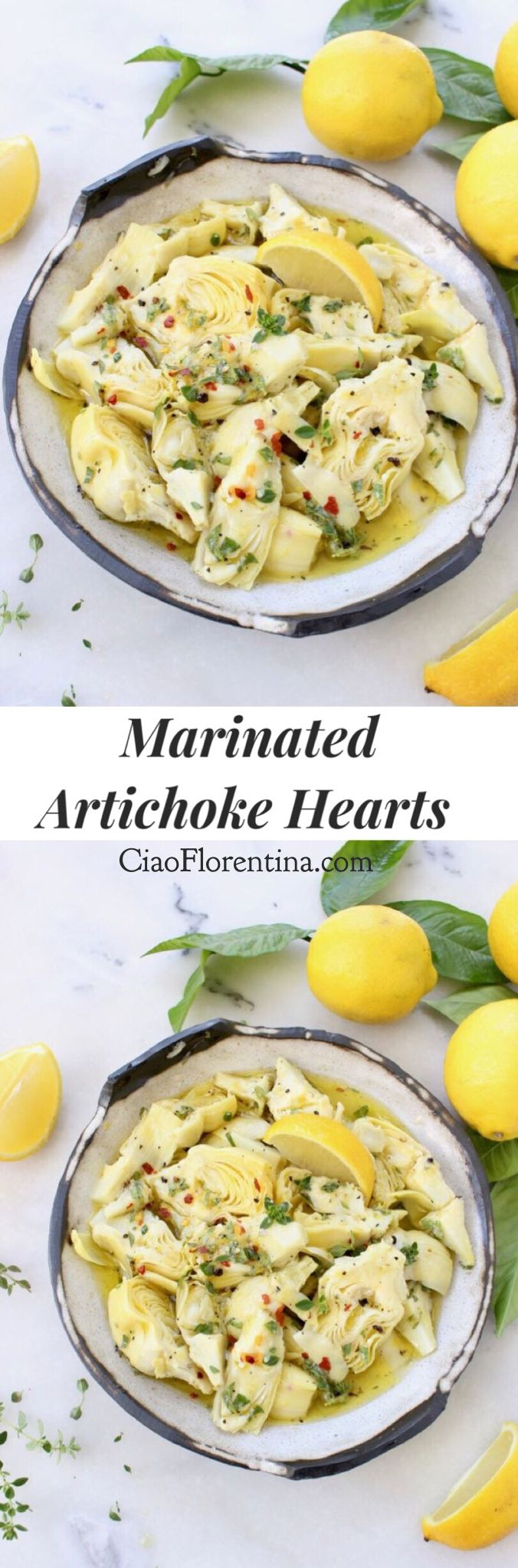Marinated Artichoke Hearts Recipe in a Lemon Garlic Marinade that is Easy and Good For You | Gluten Free + Paleo | CiaoFlorentina.com @CiaoFlorentina