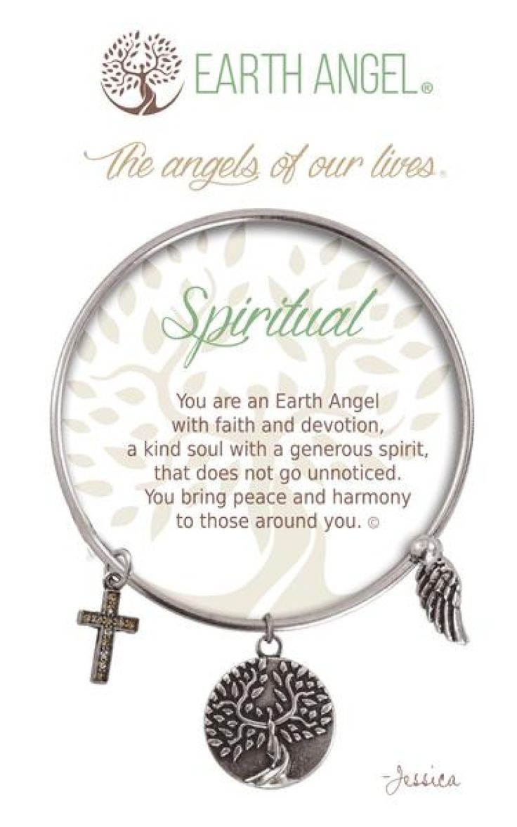 """Spiritual Earth Angel Bangle - Silver - Earth Angels is a beautiful line of expandable charm bracelets created to thank, recognize and celebrate all the """"Earth Angels"""" who have positively impacted our lives. Each bracelet is individually hand polished and accompanied by one of 36 individual corresponding accent charms with inspiring original verses. Every piece is made with great care and attention to detail with quality plated brass."""