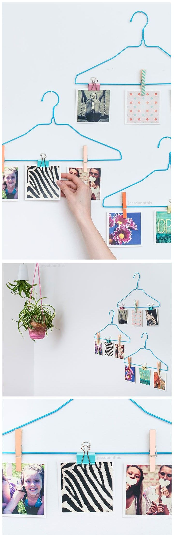 Cute DIY photo display idea - square Instagram prints + colored clothes hangers