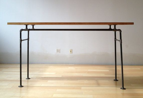 Butcher Block and Steel Pipe Standing Desk. Click pin for more pics.