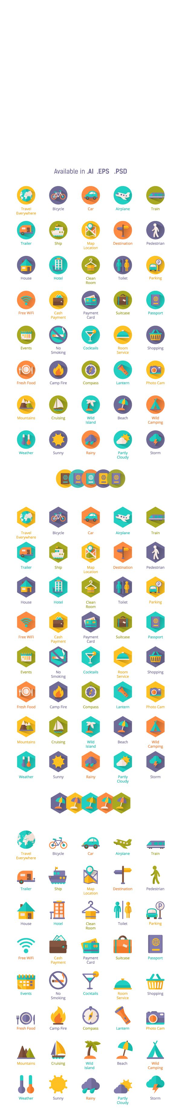 Shady I Con, Travel Flat Icons by Stella Caraman, via Behance