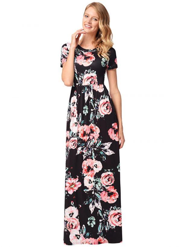 b1d49e66a Women's Long Sleeve Floral Printed Maxi Prom Dress - ROAWE.COM ...