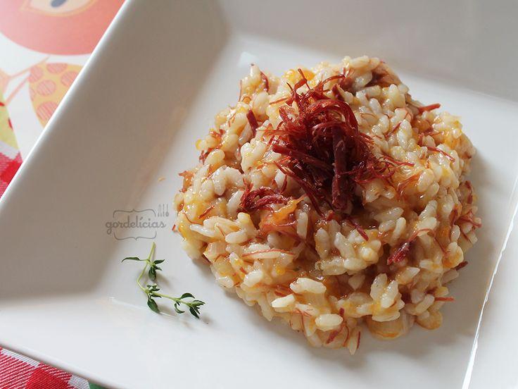 Risoto de Abóbora com Carne Seca. Receita completa em http://gordelicias.biz.