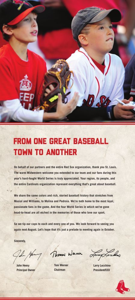 Boston Red Sox place full-page ad in St Louis Post