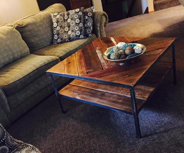 Barn Wood And Metal Coffee Table In A Customeru0027s Home.
