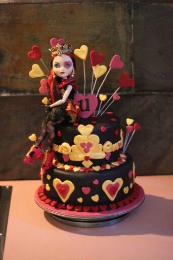 Our girls birthday cake. Lizzy hearts from ever after high.