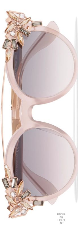 JIMMY CHOO Vivy/S Round-Frame Embellished Acetate Gold-Tone Sunglasses