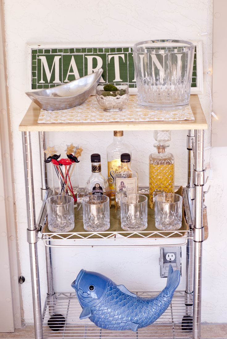 DIY Mini-Bar with a $50 Kitchen Cart #decor #bar #house #decorating #diy