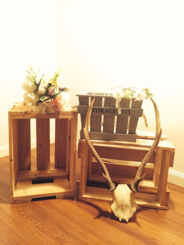 Rustic crates and antlers