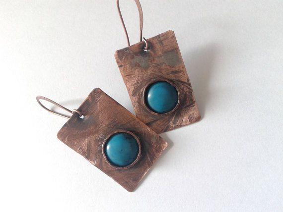 rustic earrings  copper earrings handmade earrings by tizianat