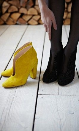Blythe boots - Yellow - by Ganni from Plümo Ltd (also available in black glitter!) £185