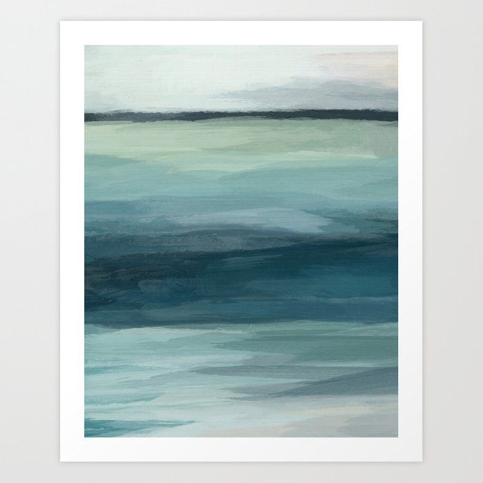 Buy Seafoam Green Mint Navy Blue Abstract Ocean Art Painting Art
