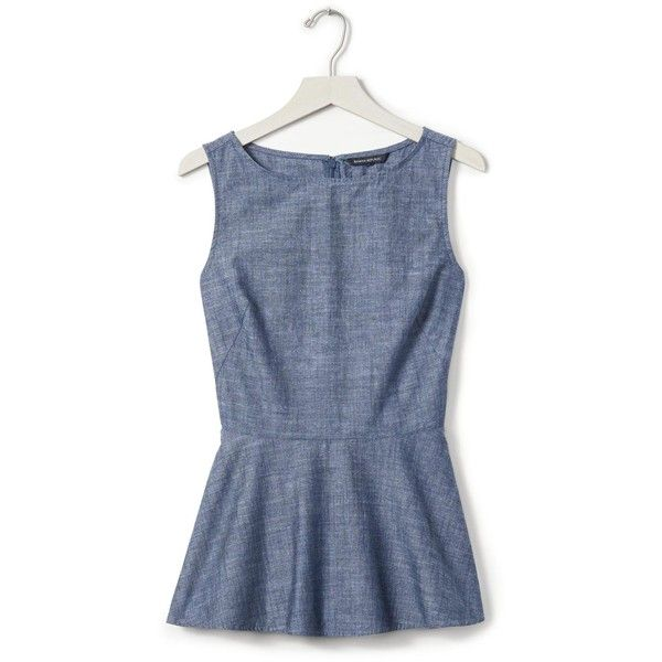 Banana Republic Womens Denim Peplum Top ($68) ❤ liked on Polyvore featuring tops, blue top, high neck top, blue peplum top, sleeveless tops and peplum tops