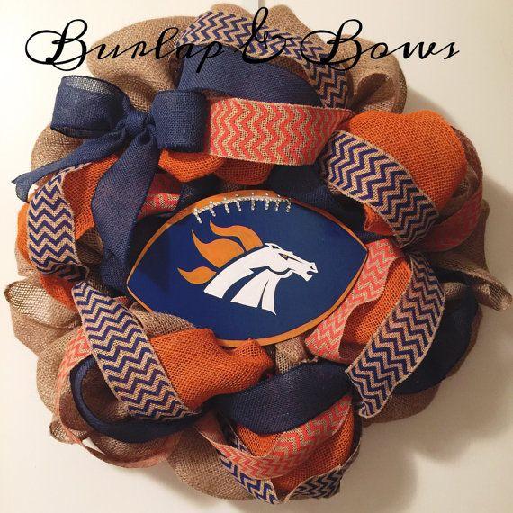 Burlap wreath Denver Broncos wreath broncos by TheLittleChandelier