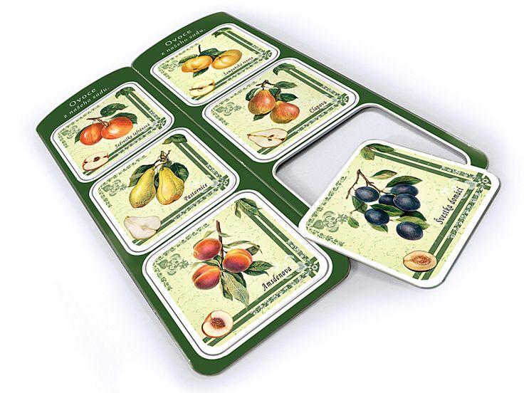 Sada 6 ks podtácků s motivy ovoce - kresby starých odrůd