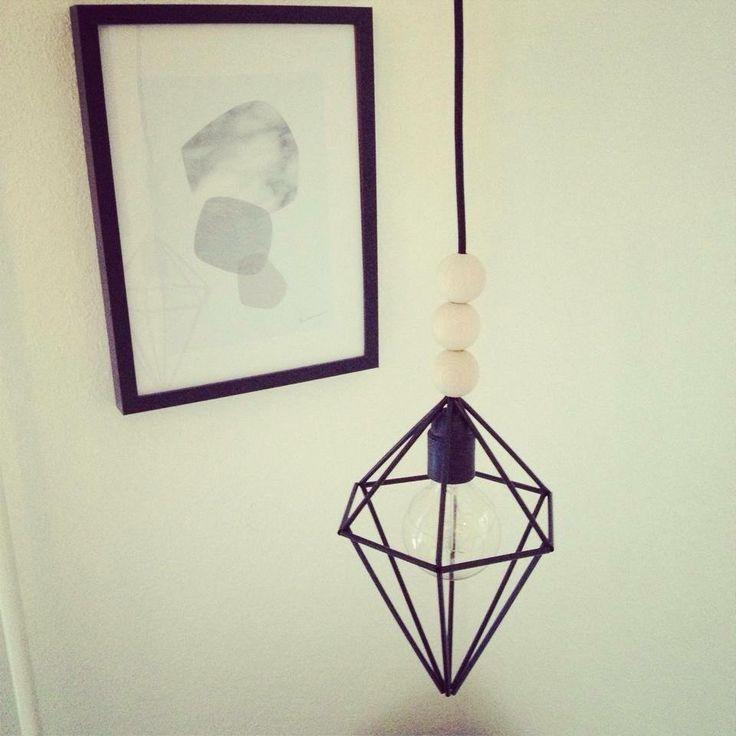 """lampe """"skærm"""" diamant lavet af sugerør"""