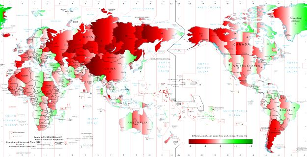 Solar time versus standard time around the world