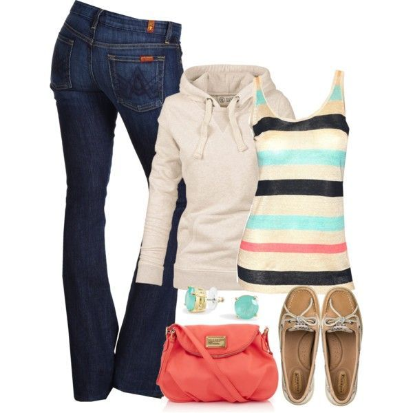 LOVE this tank! Jeans hoodie black coral and aqua striped tank coral bag and aqua stud earrings....I would do different shoes though. Maybe some aqua or coral flats.