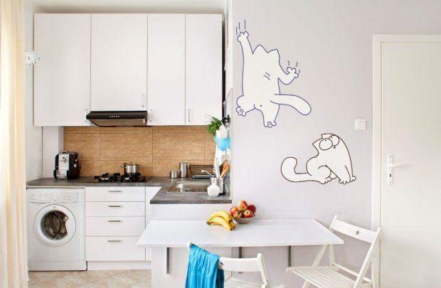 W przypadku, kiedy nie mamy możliwości oddzielenia kuchni, np. wyspą lub barkiem, możemy to zrobić symbolicznie, wykorzystując naturalną wnękę lub uskok, różnicę faktur i kolorystykę ścian.