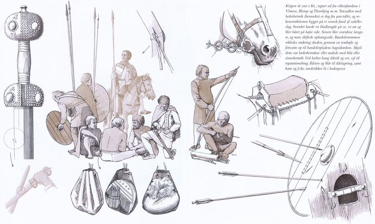 Warrior-group and weapon, Vimose, Illerup and Thorsbjerg, about AD 200