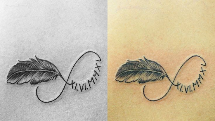 https://flic.kr/p/yvBR95 | Feather & Birth Date in Roman Characters with Infinity Tattoo |  People get Roman numeral tattoos for all sorts of different reasons. They are a great way to display any sort of number, so they are especially popular as tattoos of important dates. People may use Roman numerals for tattoos of their date of birth, their wedding, their child's date of birth, or any other significant life events. If someone feels that a number is lucky, or particularly important to…