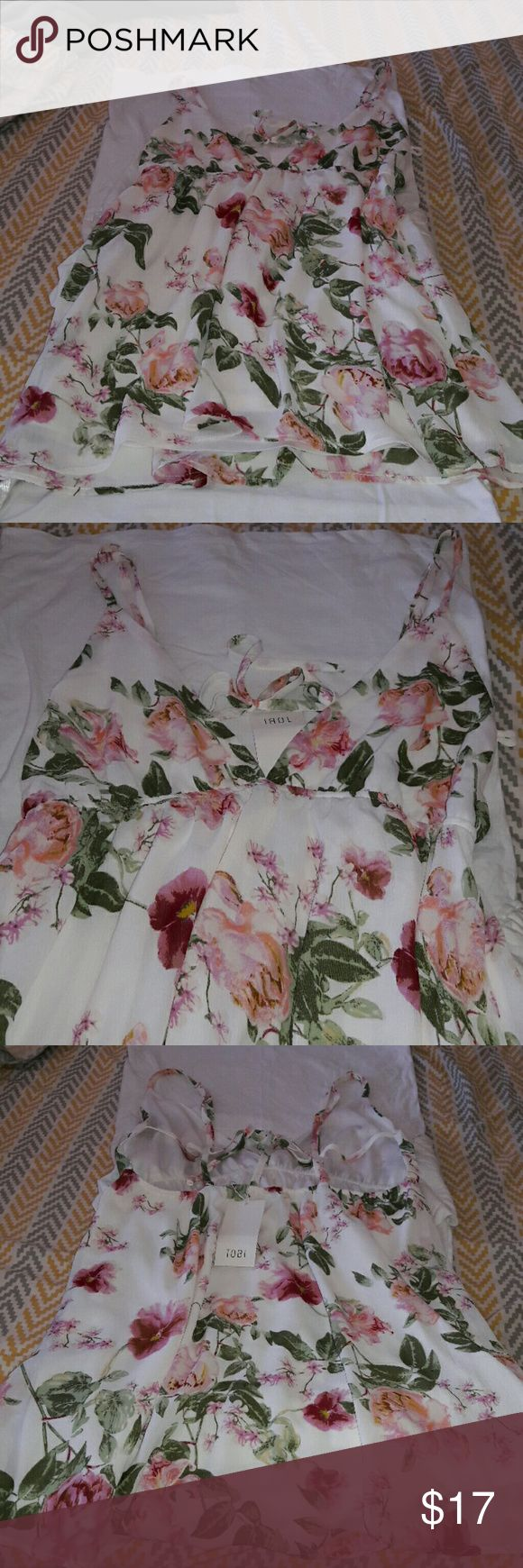 Floral Strappy Top Brand New! Pink Floral top flirty n fun! Tobi Tops Camisoles