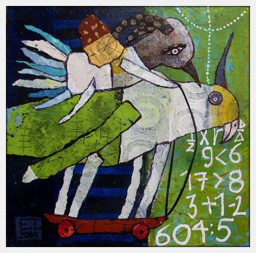 Elke Trittel acrylic,collage on board 20x20cm