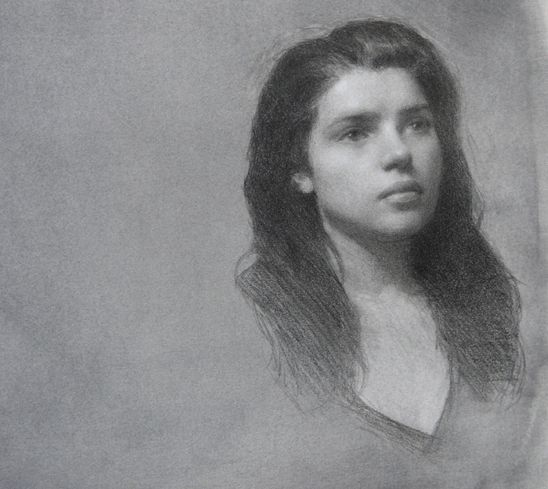 Edward Minoff, Meredith, 9x 9 inches, Pencil and White Chalk on Prepared Paper