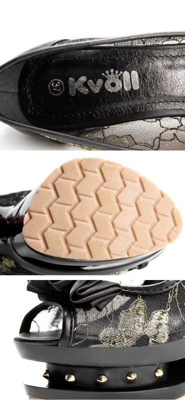 Scarpe spuntate con fiocco - Tacco 14cm/Plateau 4cm - Colore Nero/Oro trasparente - Codice: KVD63241