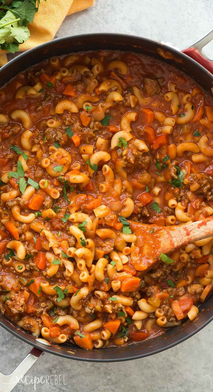 This One Pot Beef and Tomato Macaroni Soup is a classic! It's a healthy, one pot meal made in 30 minutes or less and loaded with vegetables.