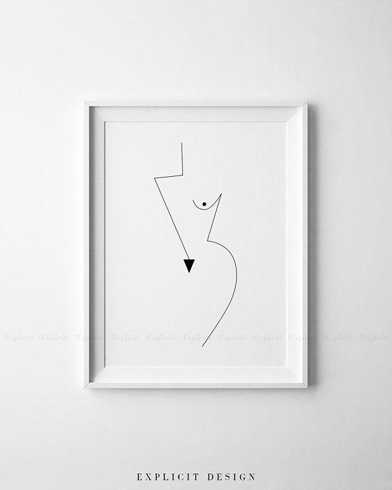 Abstract Geometric Feminine Figure Printable, Minimalist Nude Woman Body Form Art, Naked Geometrical Prints, Boob Poster, Fine Digital Print
