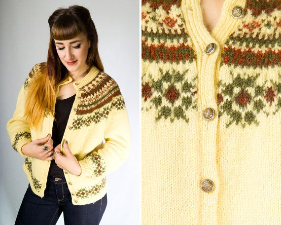 Vintage 1970s Norwegian Fair Isle Wool Ski Cardigan // 70s Cream Yellow Knit Retro Nordic Button Up Sweater Jumper   size S M   by Birthday Life Vintage on Etsy   $60.00