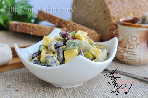 Салат с куриными сердечками и огурцом рецепт с красной фасолью
