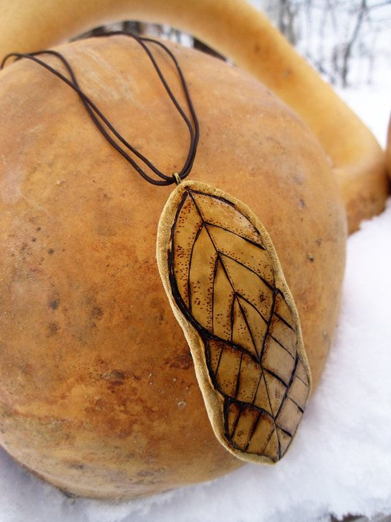 Gourd Jewelry Carved and Woodburned Leaf by BFGourdCreations