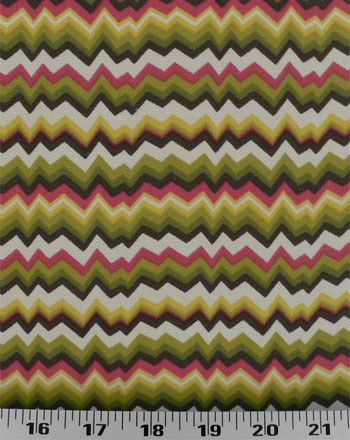 Jagged chevron outdoor fabric in brown, hunter, olive, yellow, hot pink, and ivory. Excellent for decks, poolsides, and patios. Also great for cushions, throw pillows, tablecloths, and even shower curtains. Stiff drape.