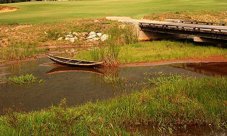 A small local boat adds a nice touch to the natural wetlands flanking the course
