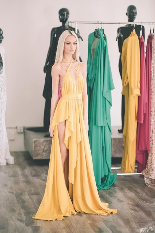 Grecian inspired yellow dress
