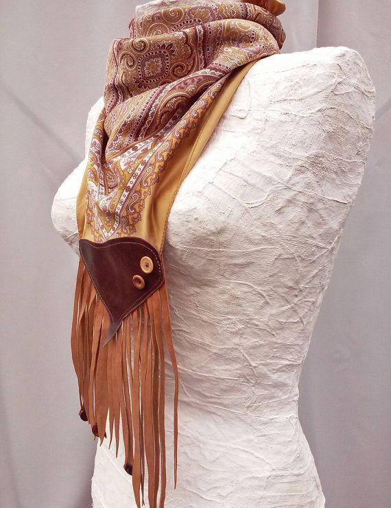 Fringed necklace scarf Leather fringed scarf by GloberinaDesign