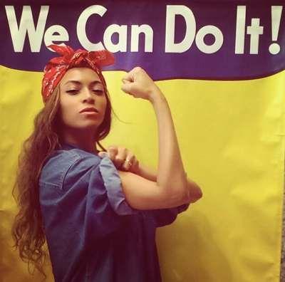 Cet article de madmoiZelle (quotidien à tendance féministe), revient sur l'une des représentations les plus emblématique du féminisme, Rosie la riveteuse repris récemment par l'artiste Beyonce. A travers cela l'article expose la construction d'un symbole et se demande si la revendication d'être féministe peut être faites par qui le veut.